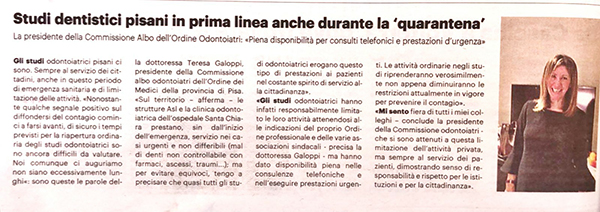 """Studi dentistici pisani in prima linea, anche durante la """"quarantena"""""""